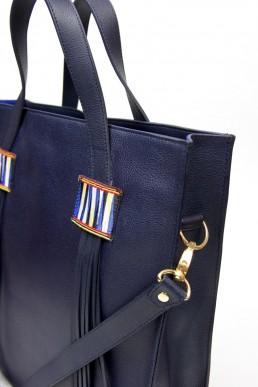 yacana paris - sac andino bleu nuit - porte document - cuir