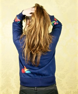 bomber - blouson - jacket - alpaga - brodé - bleu - fleurs - handmade- handcrafted - éthique - gilet - veste