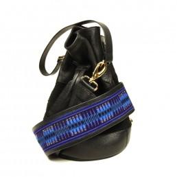 bandoulière - faja - cuir - sac à main - pochette - handbag - bourse - sac- bleu - noir - gypset - boho
