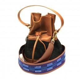 bandoulière - faja - cuir - sac à main - pochette - bourse - handbag - sac- bleu - gold - gypset - boho