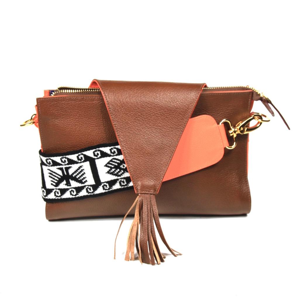 yacana - paris - sac cuenca- gold and orange - pochette cuir
