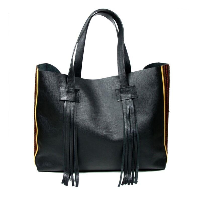 yacana paris - sac otavalo - black and brown - noir - marron - cabas