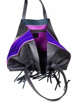 yacana paris- sac otavalo - black and purple - cabas - noir