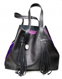 yacana paris- sac otavalo - black and purple - cabas - noir