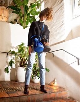 sacs bourse quito en cuir bleu, noir, faja, yacana