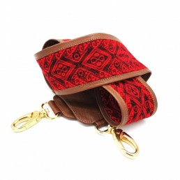 bandoulière de sac faja large gold et rouge yacana