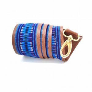 bandoulière de sac faja large gold et bleu yacana