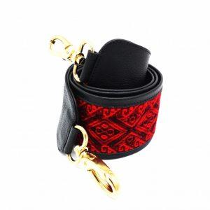 bandoulière de sac faja large noire et rouge yacana