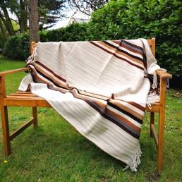 plaid couverture péruvienne yacana blanche fine rayures
