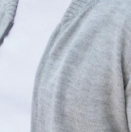 Bomber gris tissé gilet en baby alpaga by yacana